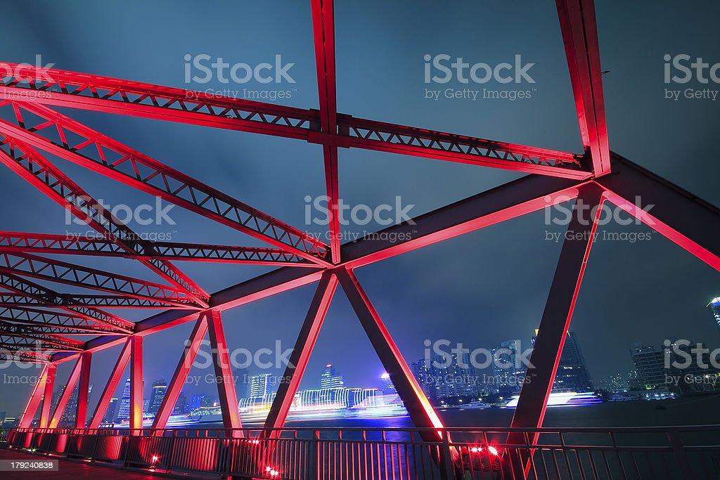 Steel structure bridge close-up at night landscape stock photo