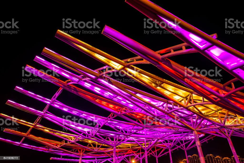Steel structure building in the evening stock photo