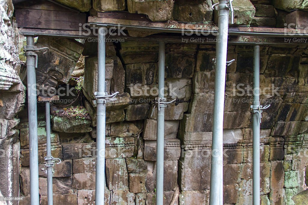 Steel support Prop walls which are falling. stock photo