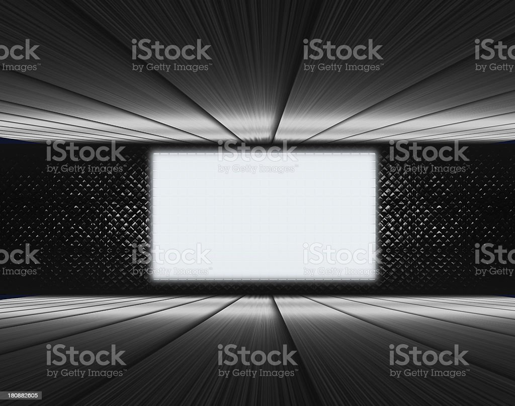 Steel surrounded room and big screen stock photo