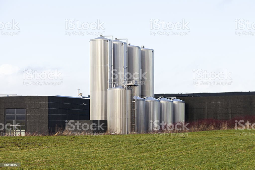 Steel tanks on the factory stock photo