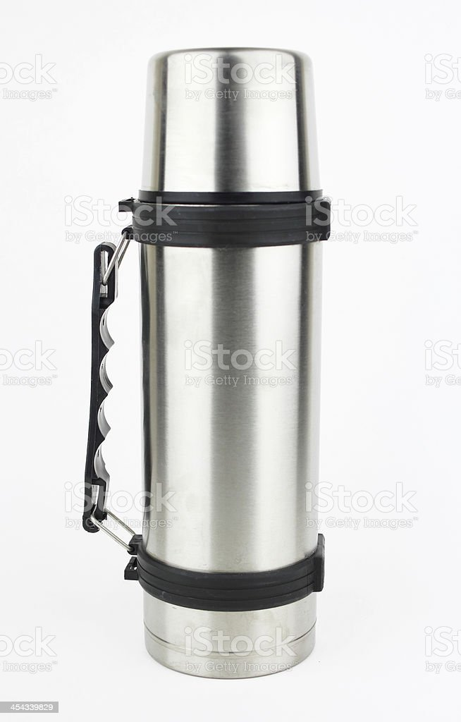 Steel thermos stock photo