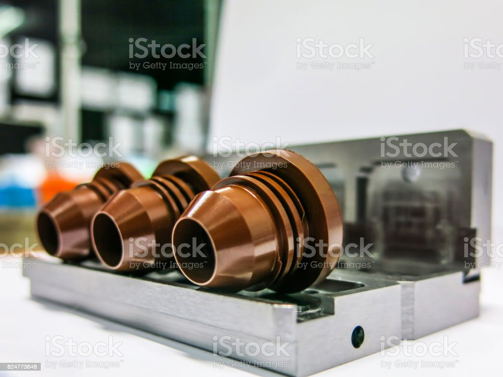 Steel through conventional molding with standard machining. Controlled by computer program input stock photo
