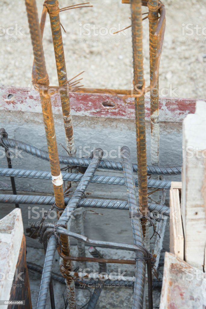 Steel tie of ground beam waiting for concrete work stock photo