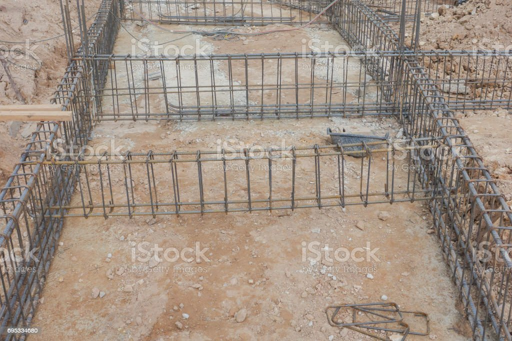 Steel tie work at construction site stock photo