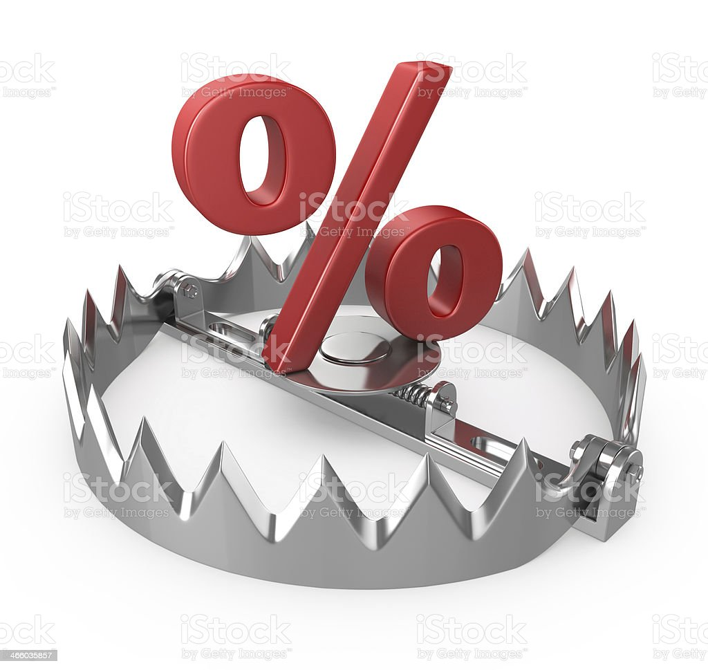 steel trap with percent symbol stock photo