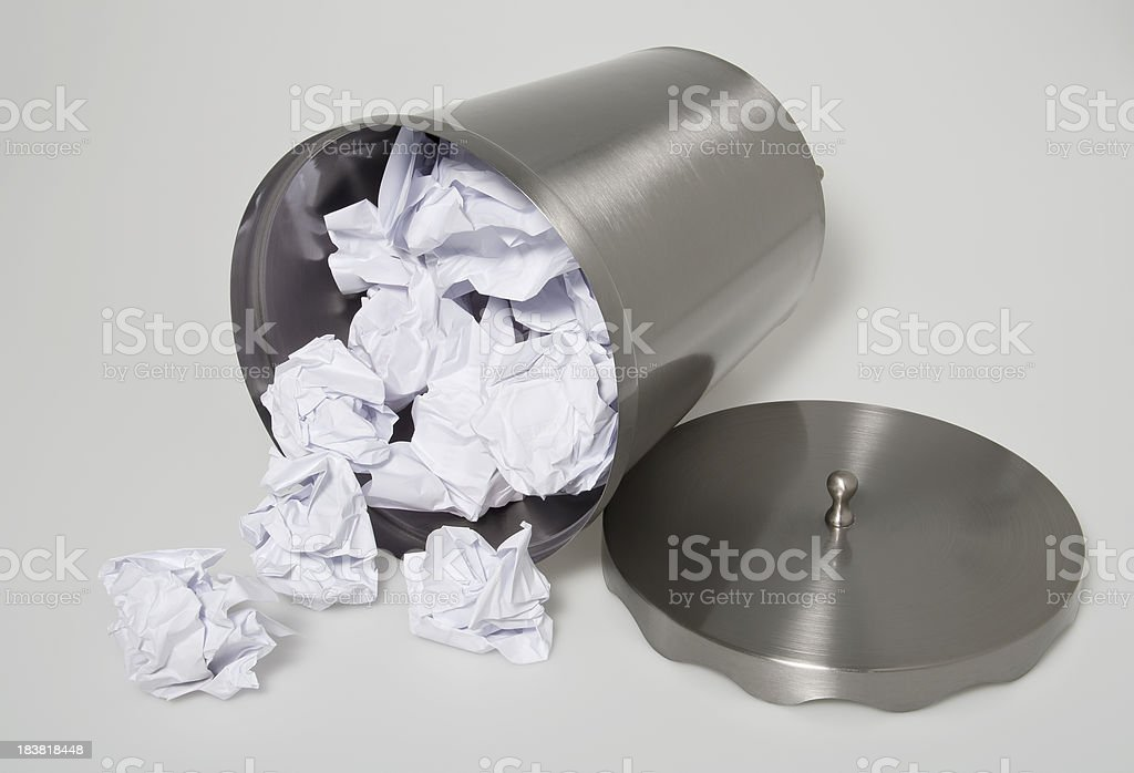 Steel trash can stock photo