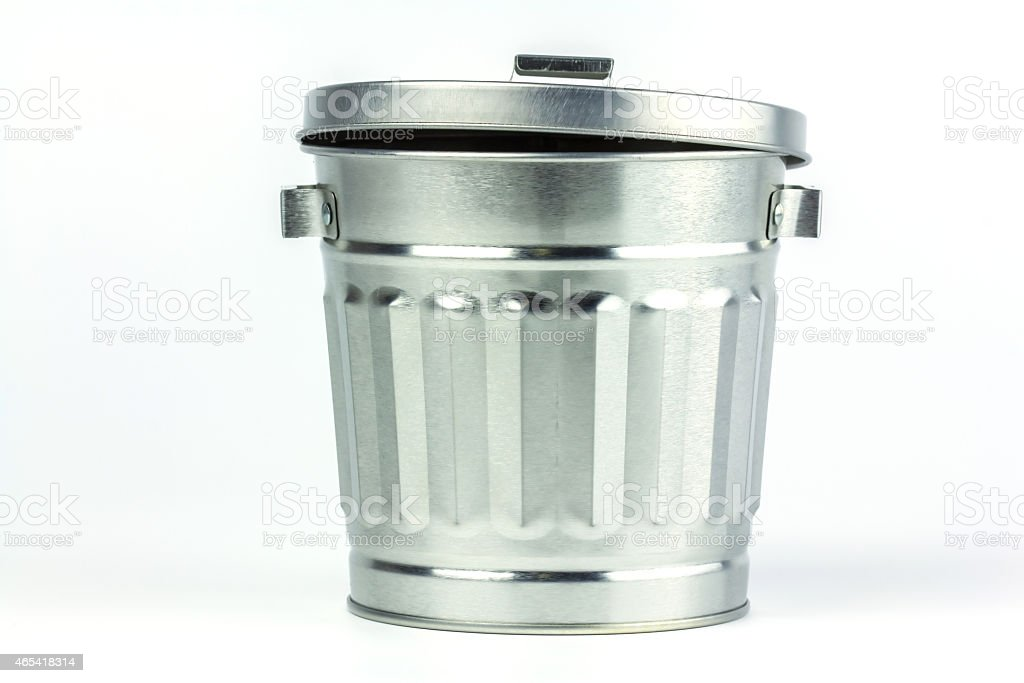 Steel trash can royalty-free stock photo