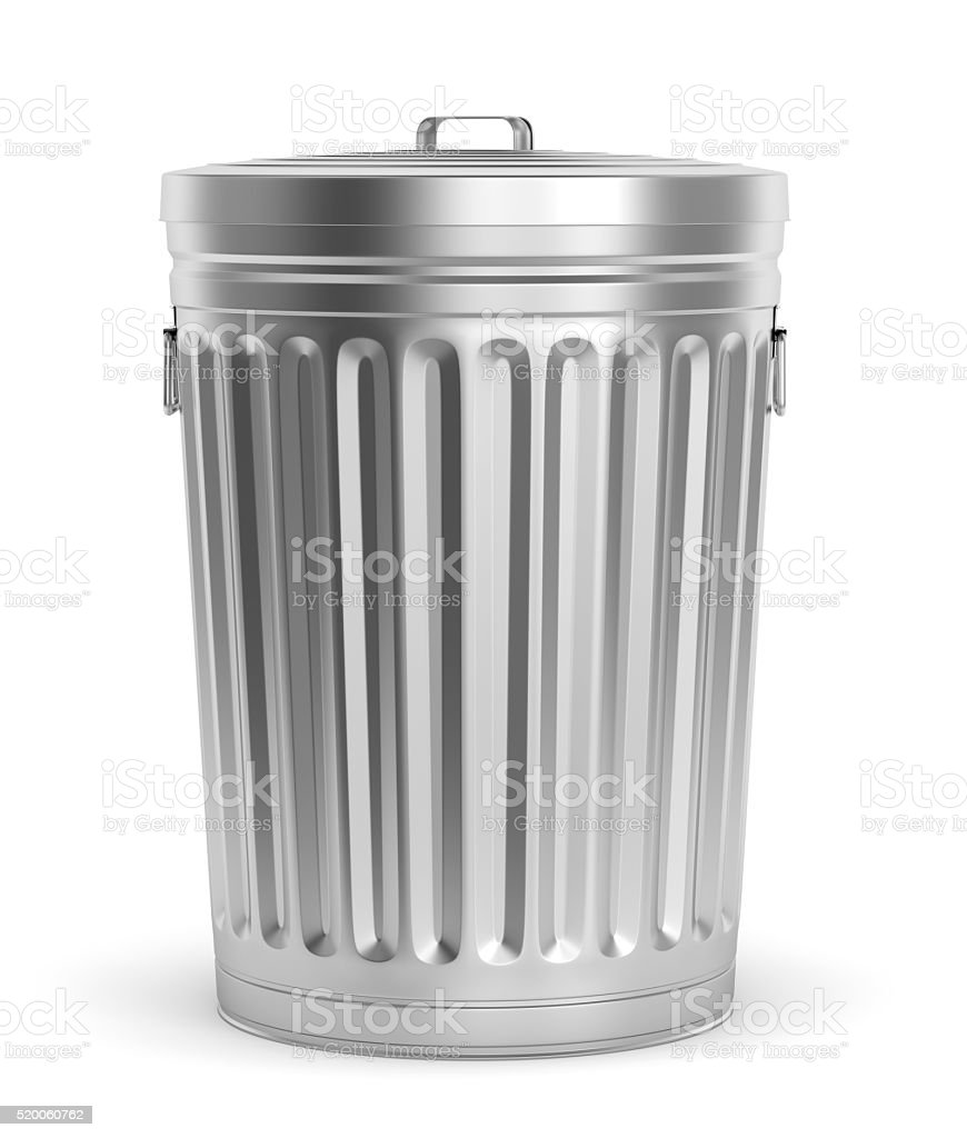 Steel trash can stock photo