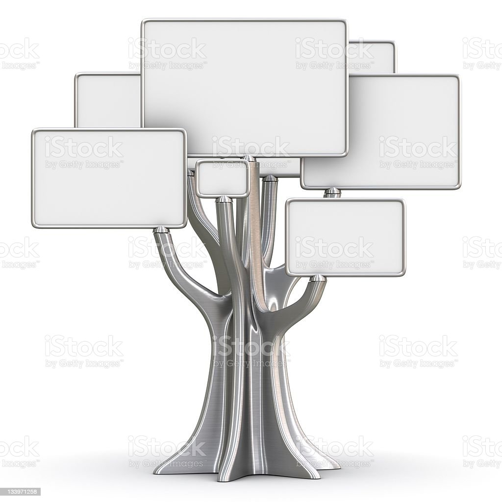 Steel tree stock photo