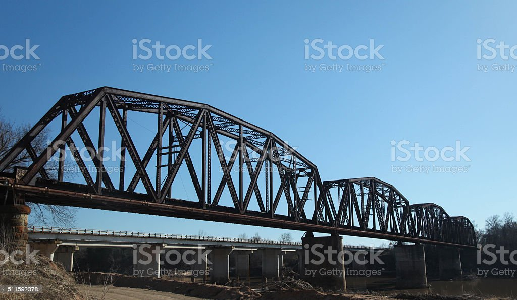 Steel Trestle Railroad Bridge over Red River stock photo