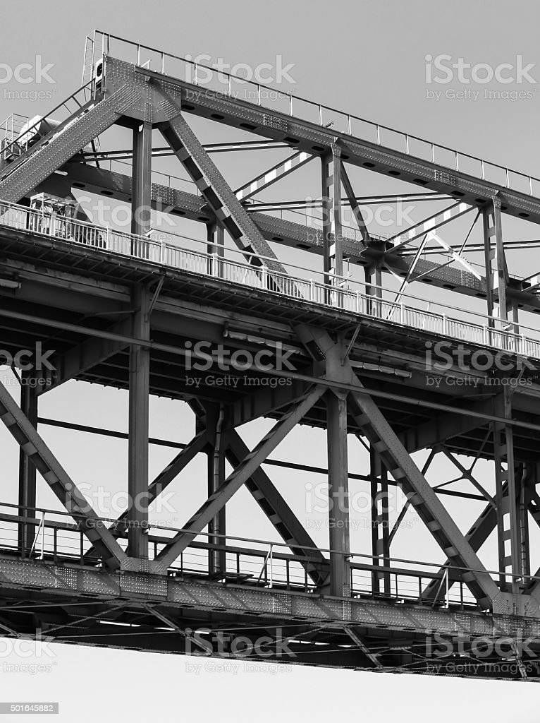 Steel truss bridge construction closeup fragment stock photo