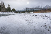 Steel Truss Bridge over a Mountain River in Winter