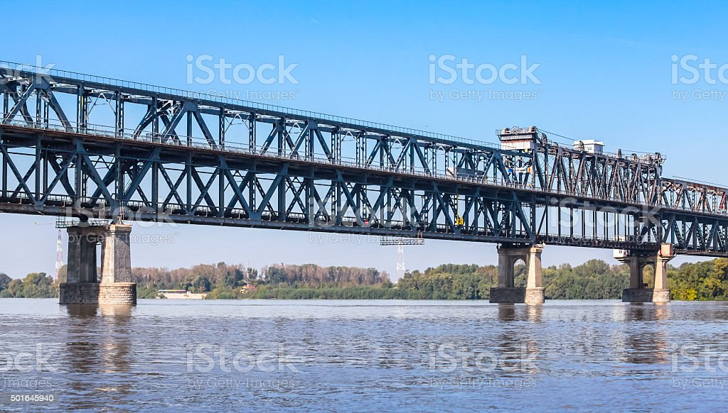 Steel truss bridge over the Danube River stock photo