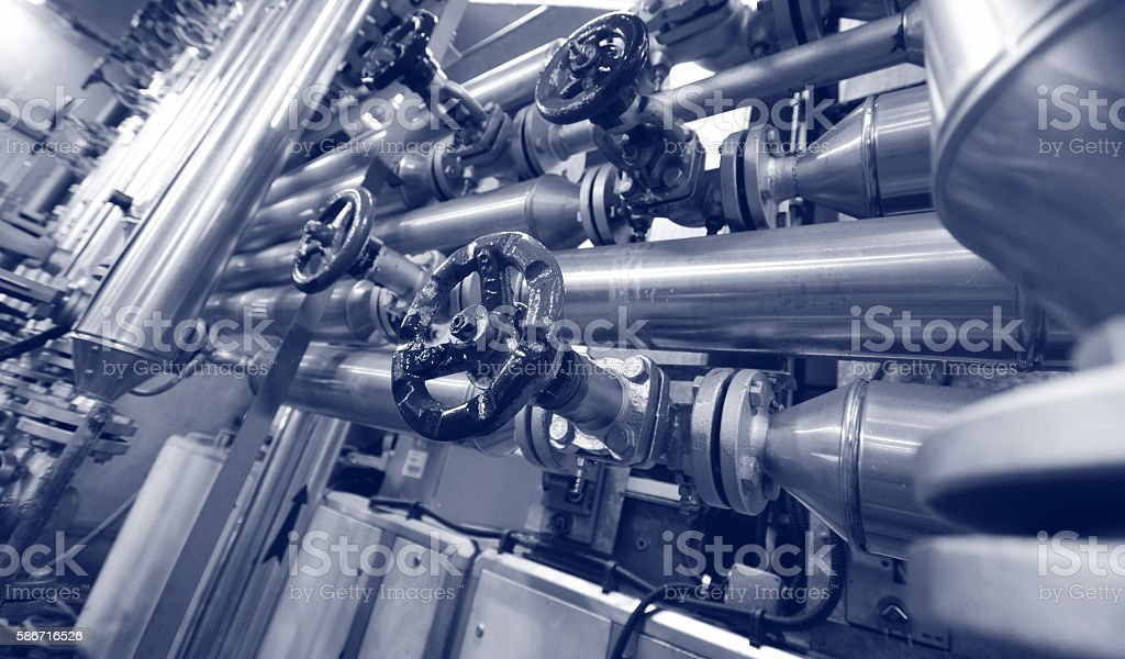 Steel valves, oil and gas valves in industrial zone stock photo
