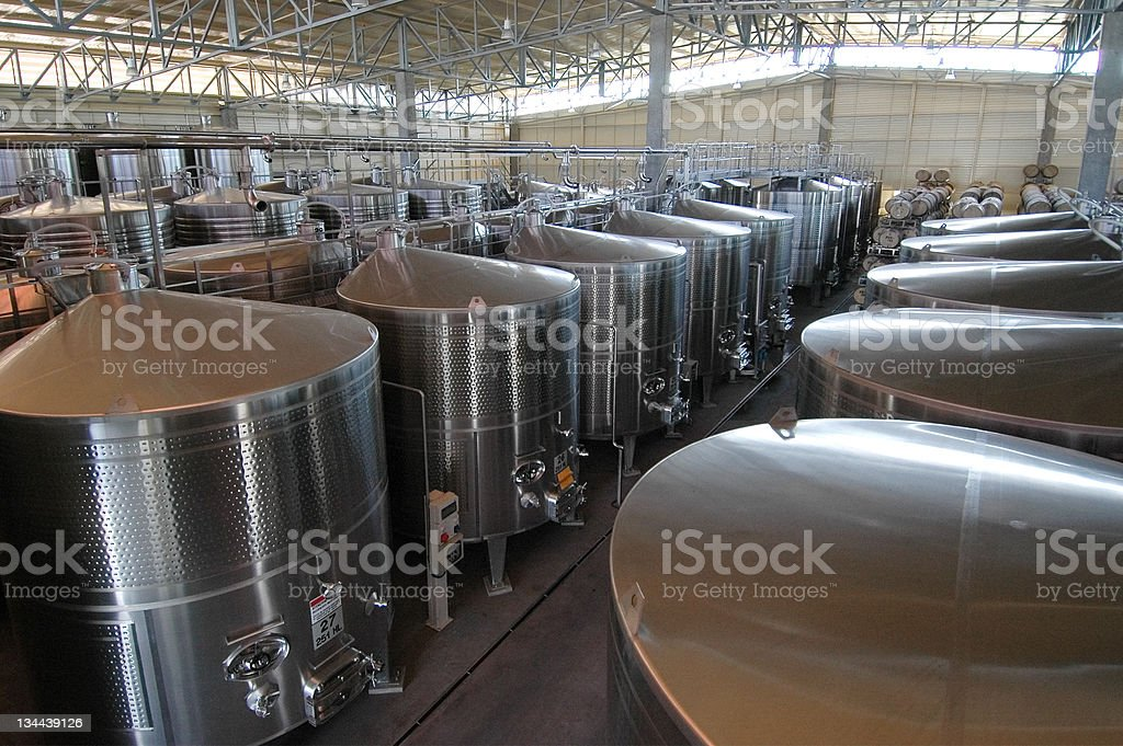 Steel Vats used in Making Wine stock photo