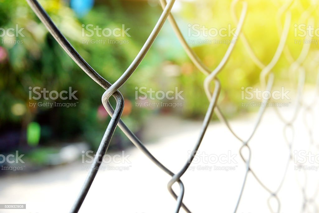 steel wire fence over sunny light in summer nature background stock photo