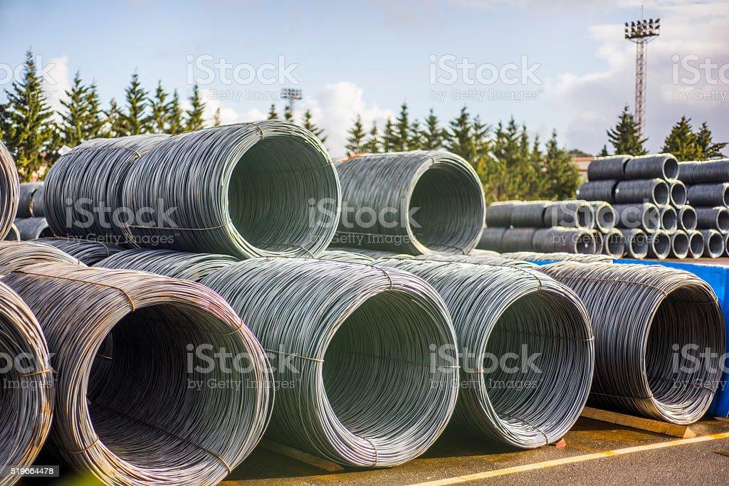 Steel wire rolls stock photo