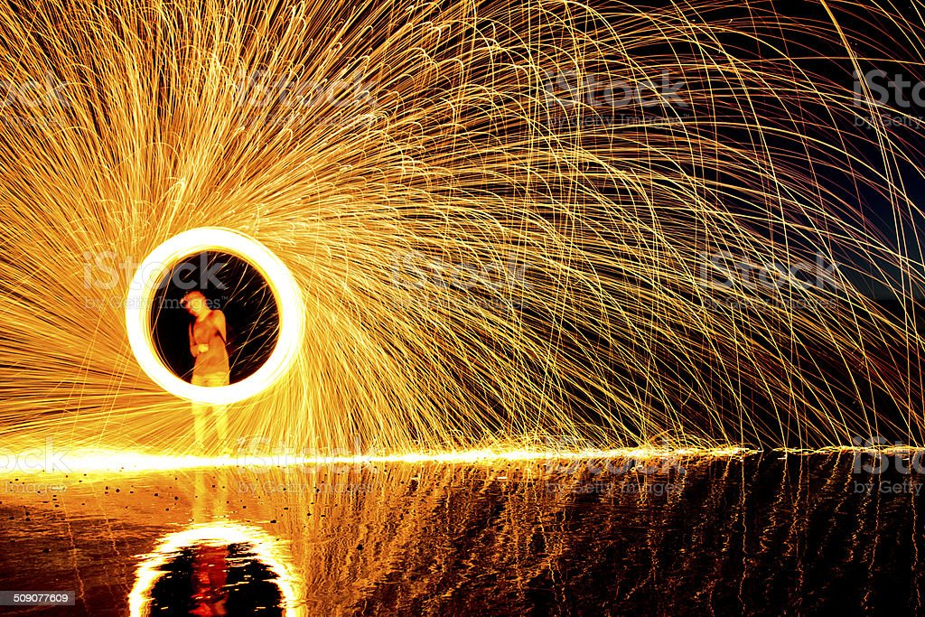steel wool painting with light self portrait stock photo