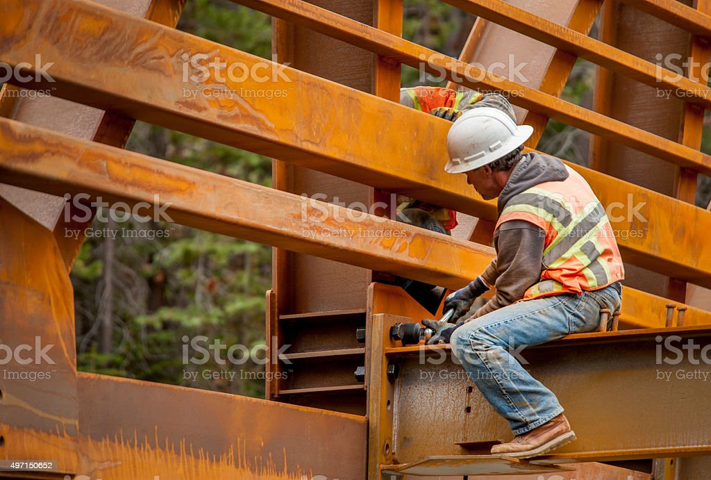 Steel Workers, Bridge Construction stock photo