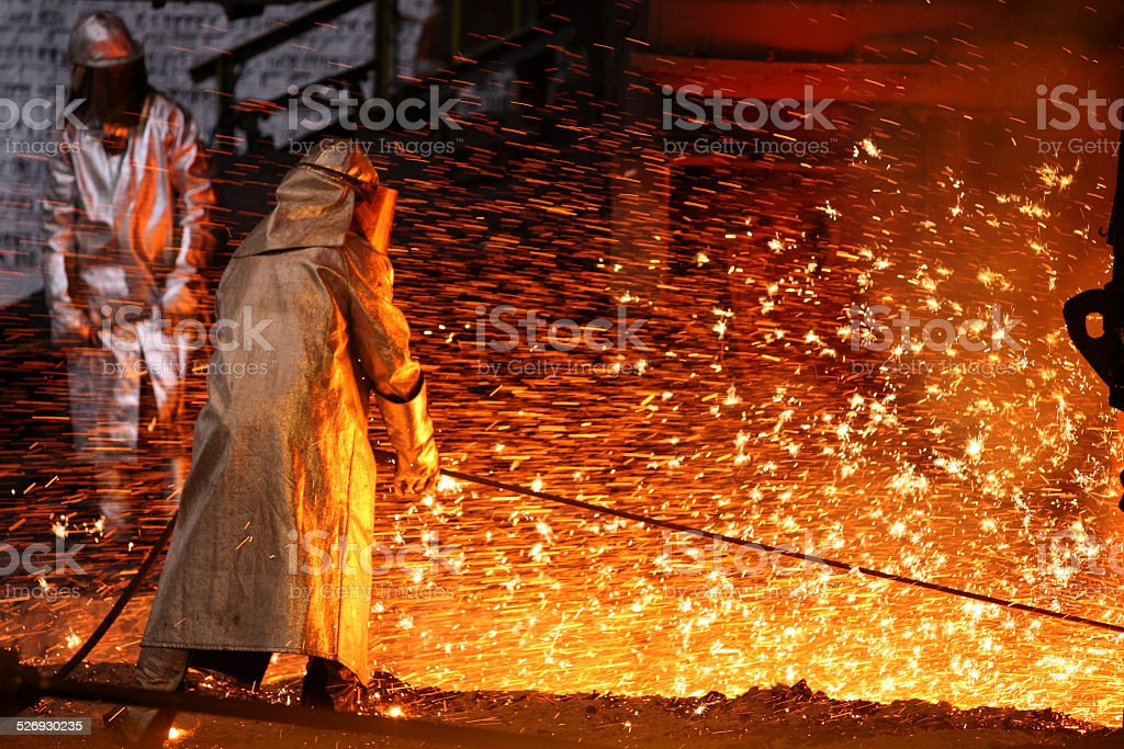 Steel workers stock photo