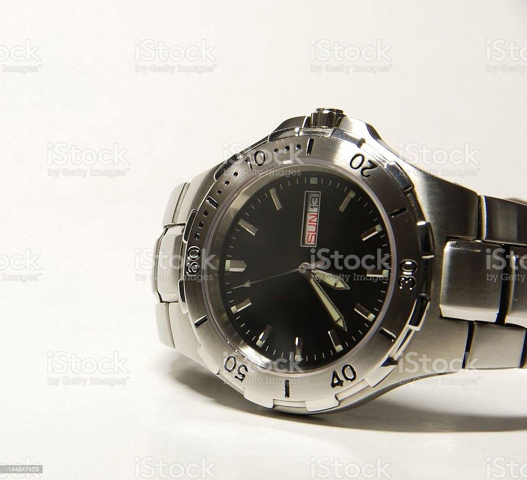 Steel wristwatch royalty-free stock photo