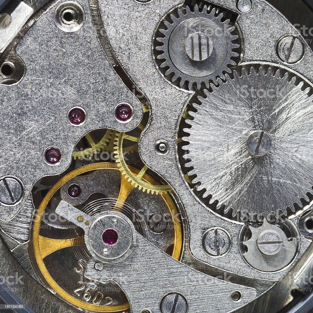 steell clockwork of wristwatch stock photo