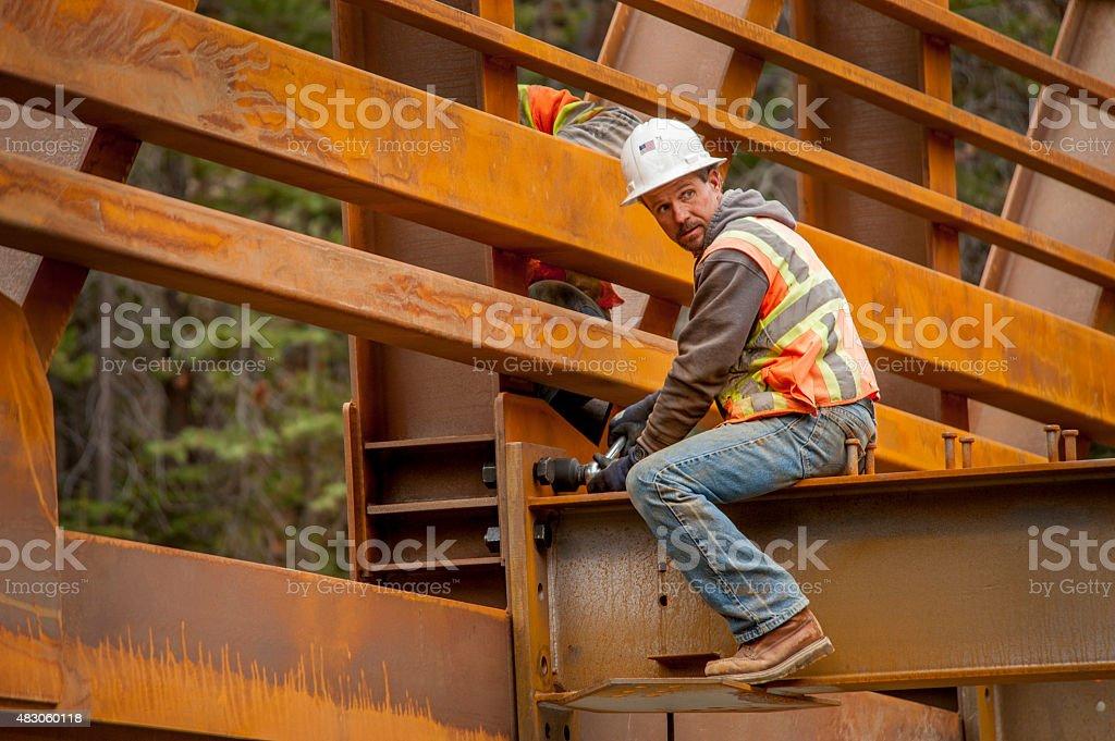 Steelworker, Bridge Construction, California stock photo