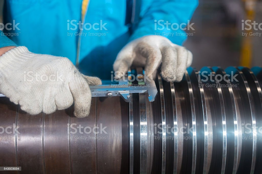 Steelworkers at work stock photo