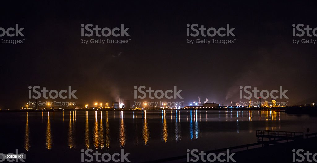 Steelworks at night stock photo