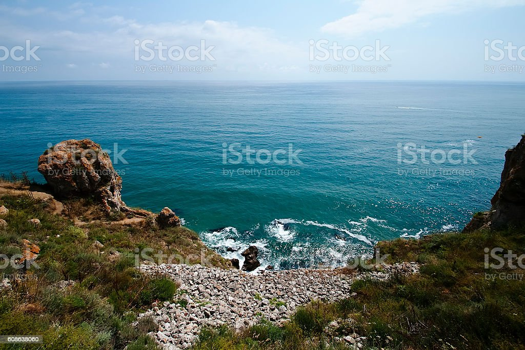 Steep coast of Cape Kaliakra stock photo