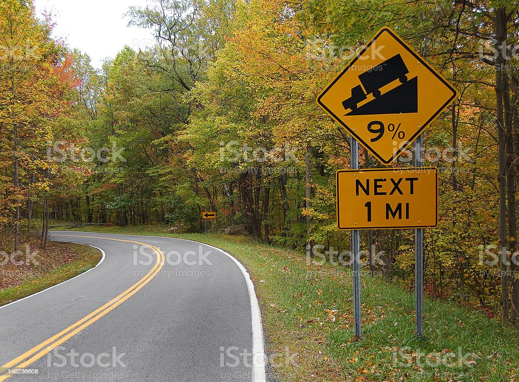 Steep grade and curves ahead royalty-free stock photo
