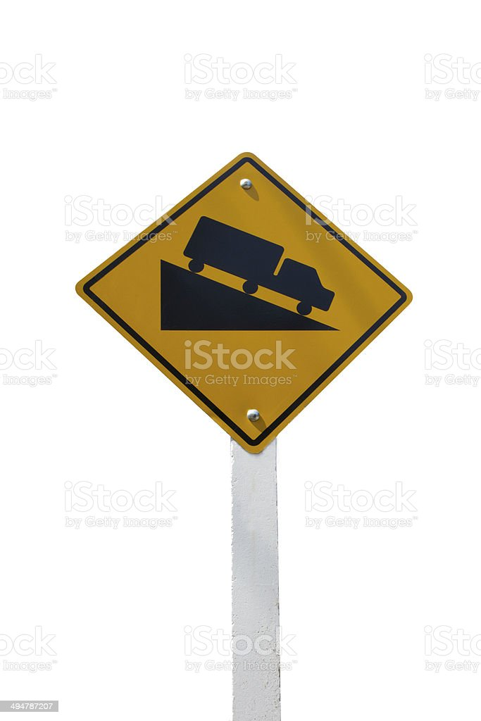 Steep Grade sign isolated on a white background stock photo