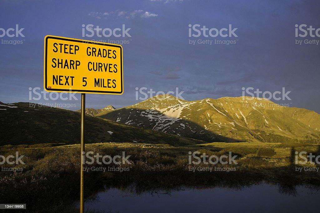 Steep Grade Sign on Mountain Pass royalty-free stock photo