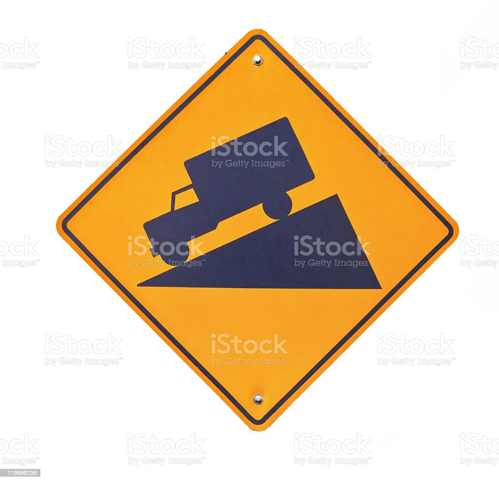 Steep hill road sign isolated on white royalty-free stock photo
