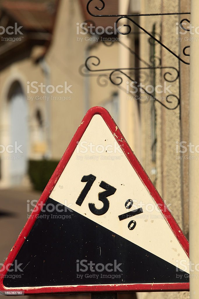 steep hill sign in the French countryside stock photo