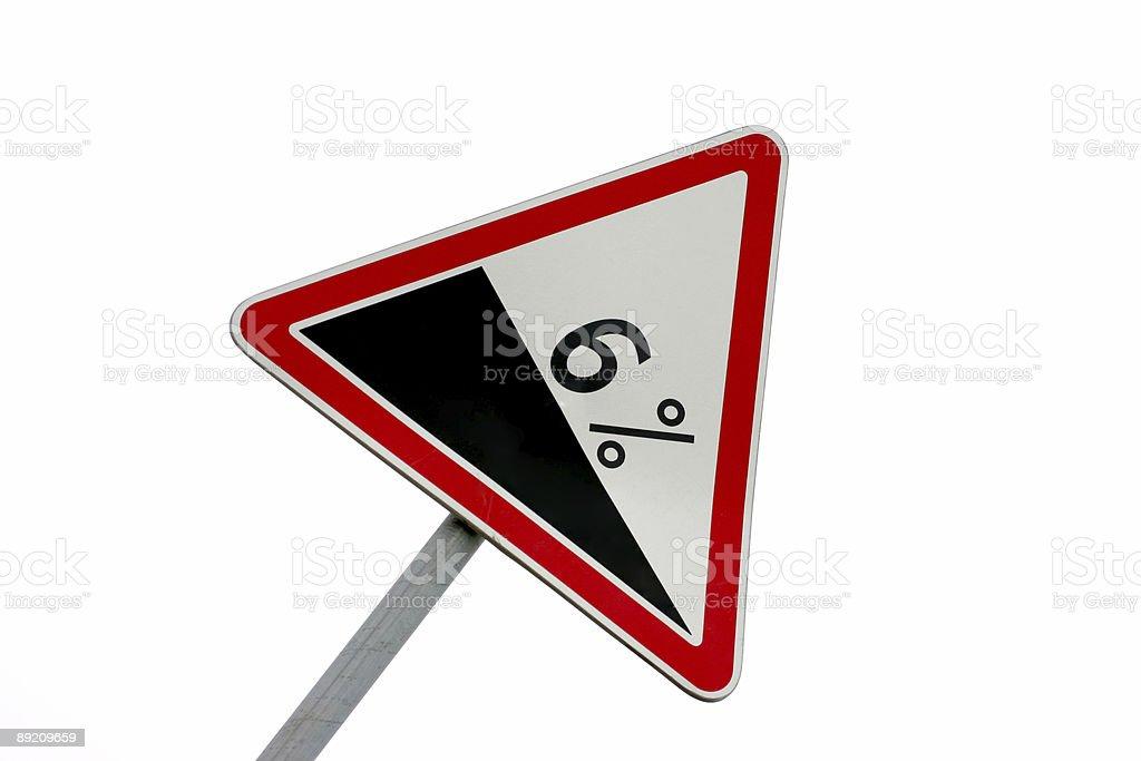 Steep hill warning Signpost royalty-free stock photo