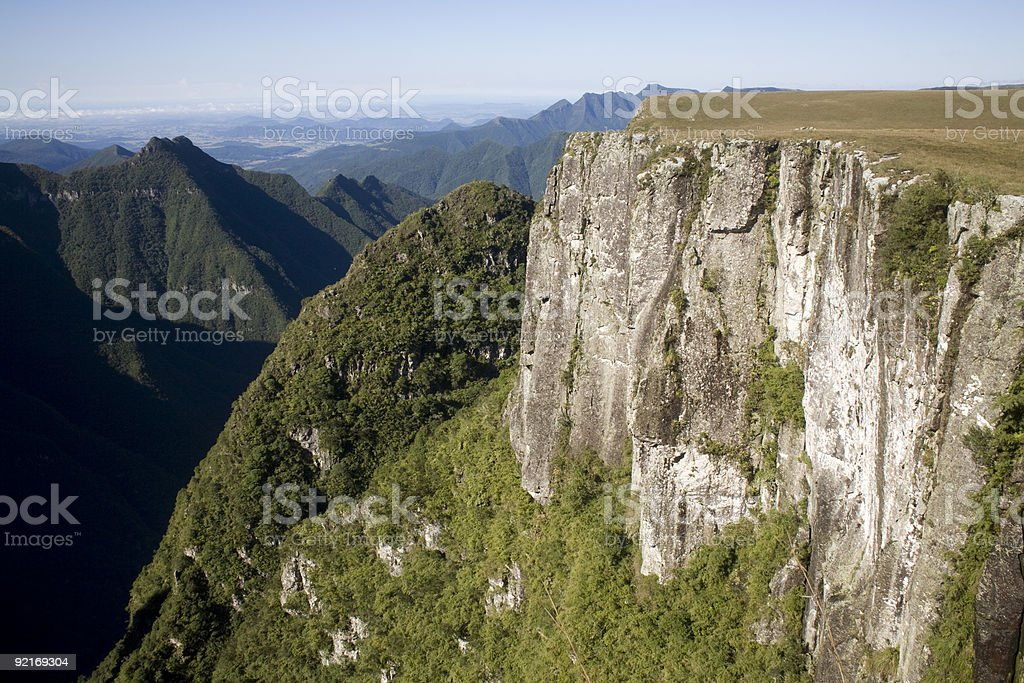 Steep ravenous canyon with foliage along bottom in Brazil royalty-free stock photo