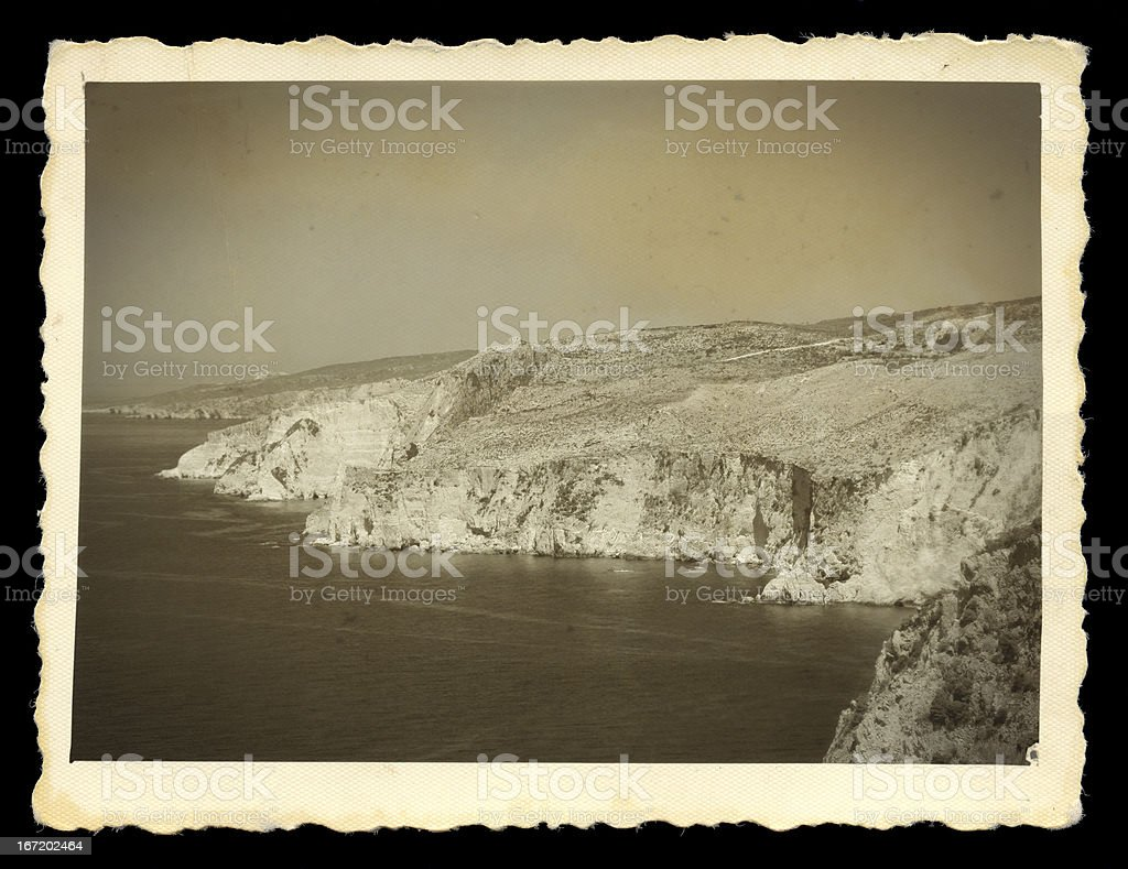 steep sea cliffs vintage photo royalty-free stock photo