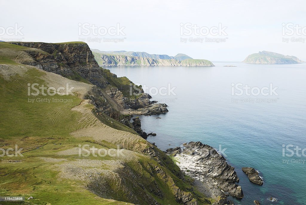 Steep shore of Soroya in summer. stock photo