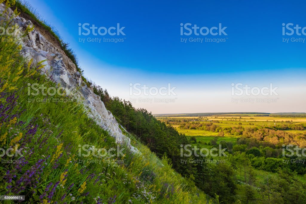Steep slope of the chalk mountain stock photo
