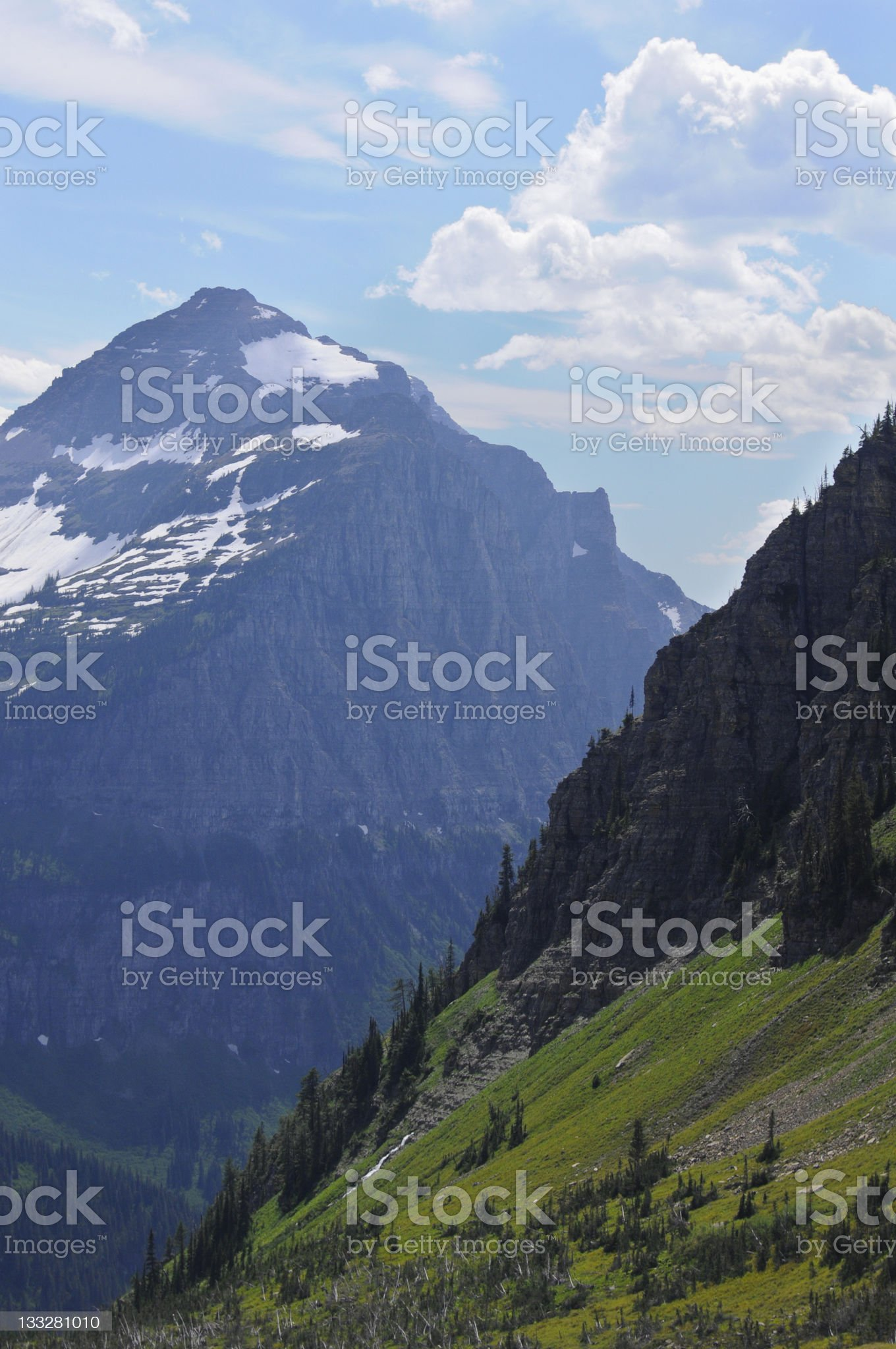 Steep Slopes on Mountain in Glacier National Park royalty-free stock photo
