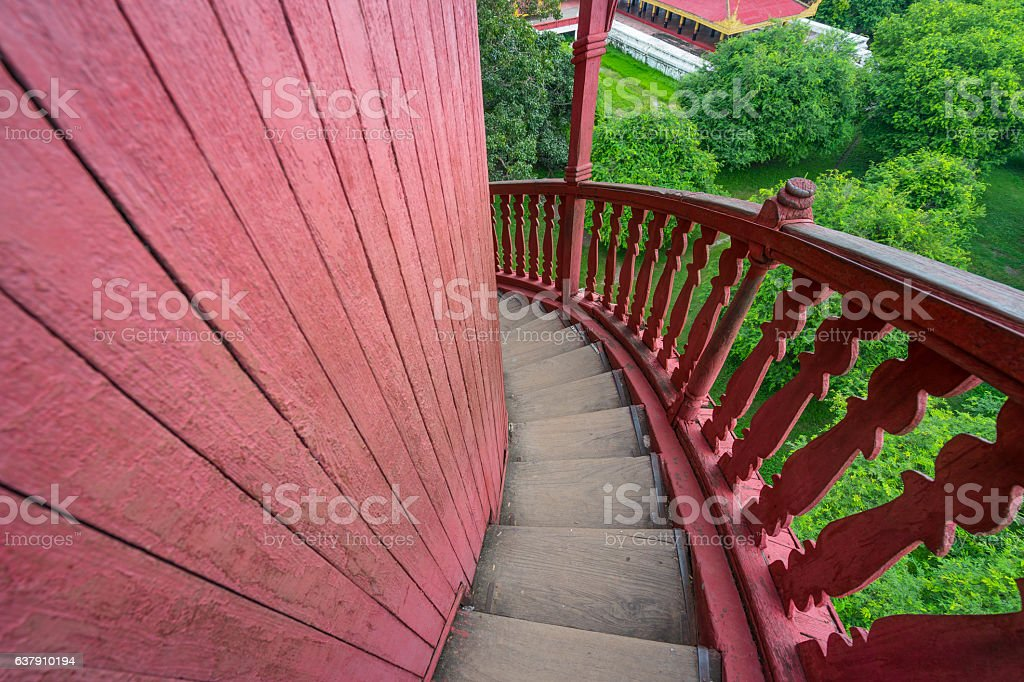 Steep stair of watch tower in Mandalay palace, Myanmar, Asia stock photo