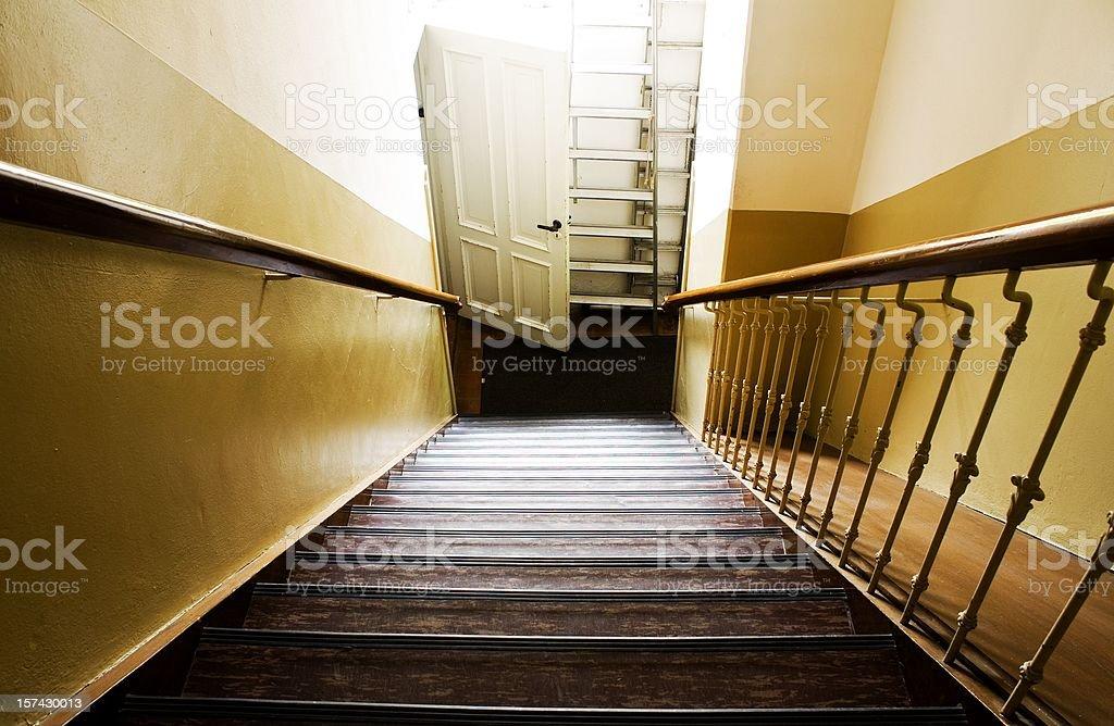 Steep stairway stock photo