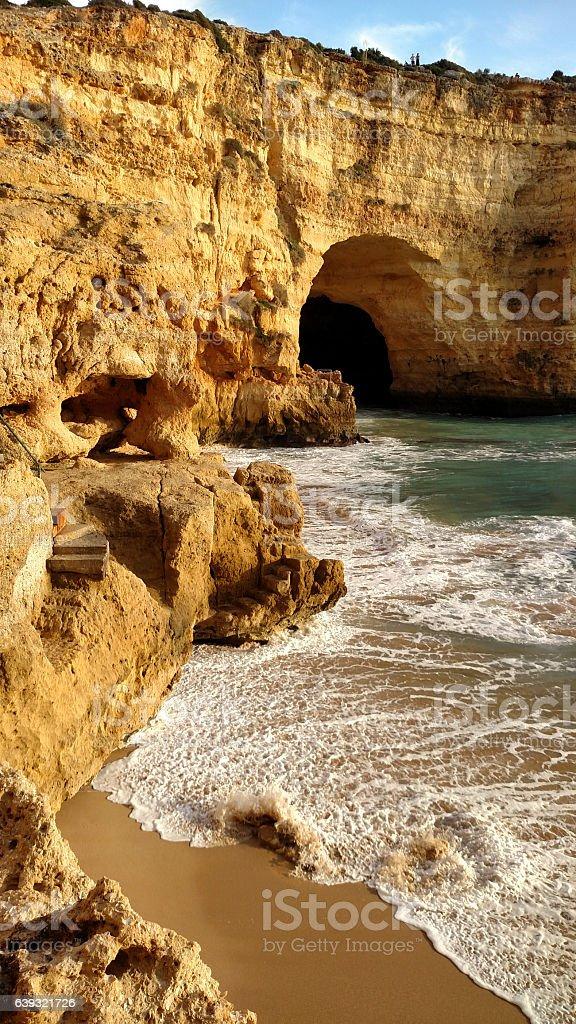 Steep steps down to small beach Algarve Coast Carvoeiro Portugal stock photo