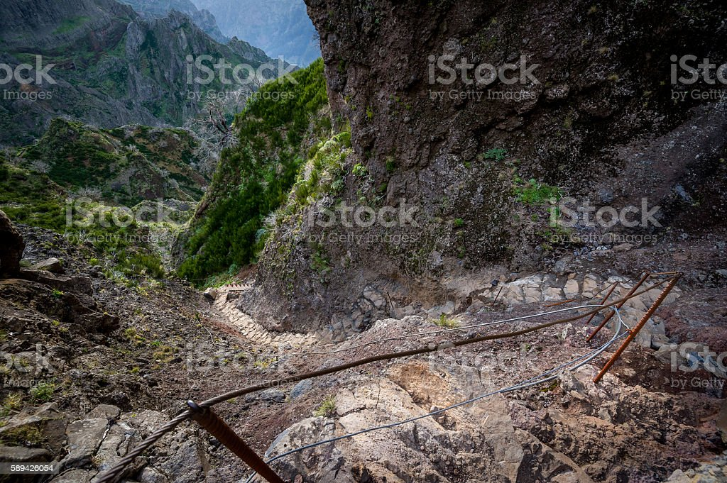 Steep stone stair in the rocky paths of Madeira island. stock photo