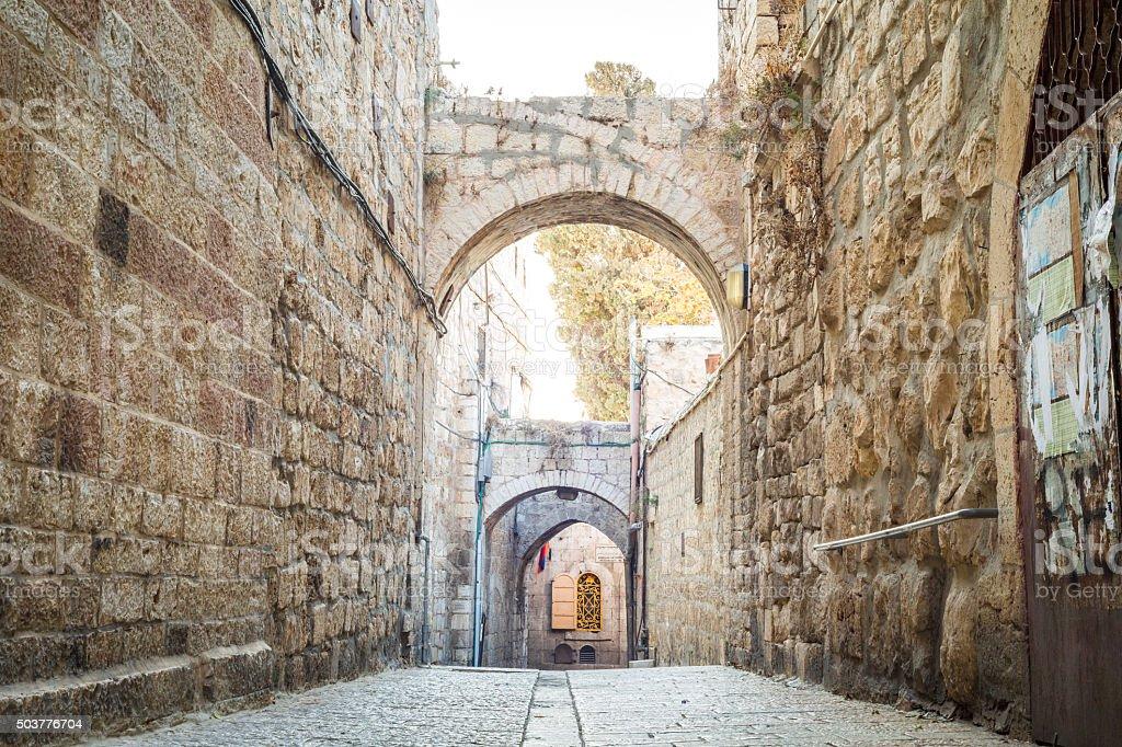Steep street of Jerusalem, Israel stock photo