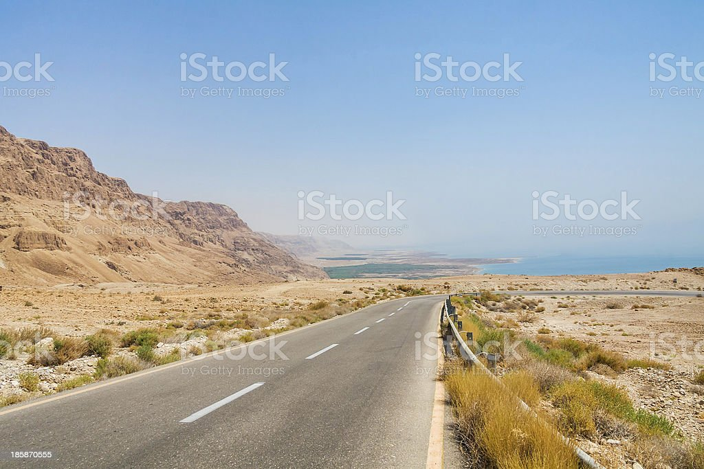Steep turn of descend highway to Dead Sea royalty-free stock photo