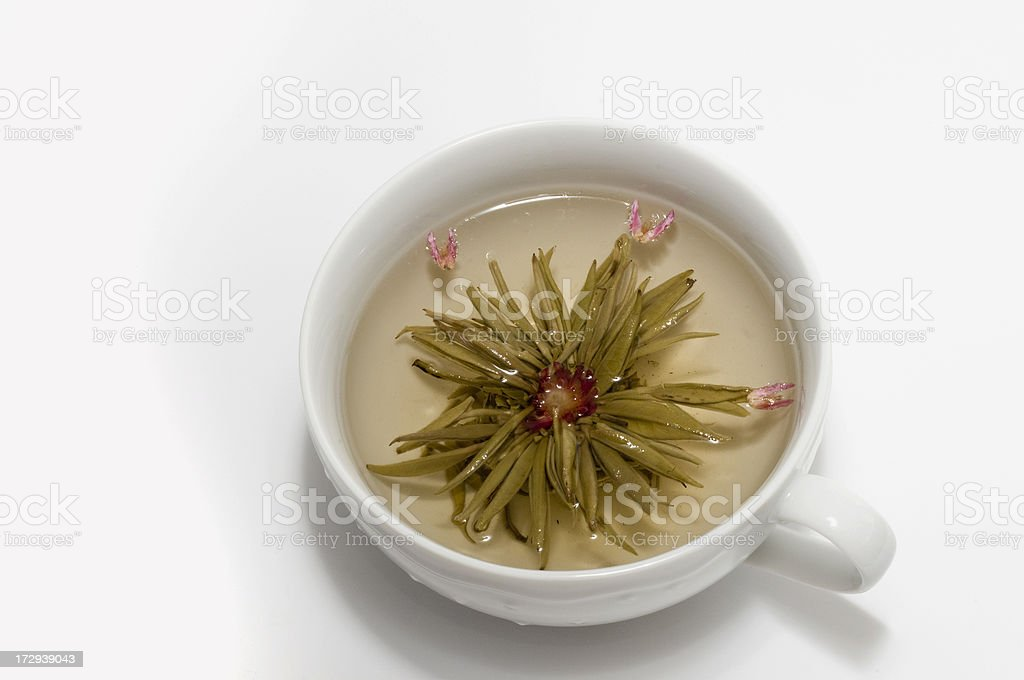 Steeping Chinese Lychee Blossom Green Tea stock photo