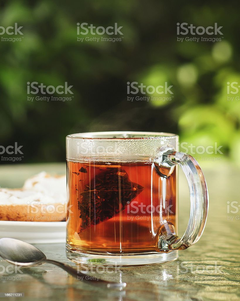 Steeping Hot Tea and Bagels royalty-free stock photo